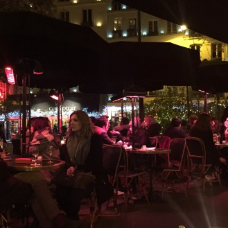 Busy Paris Terrace in the Evening